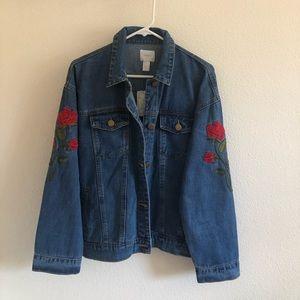 Forever 21  Floral Embroidery Denim Jacket